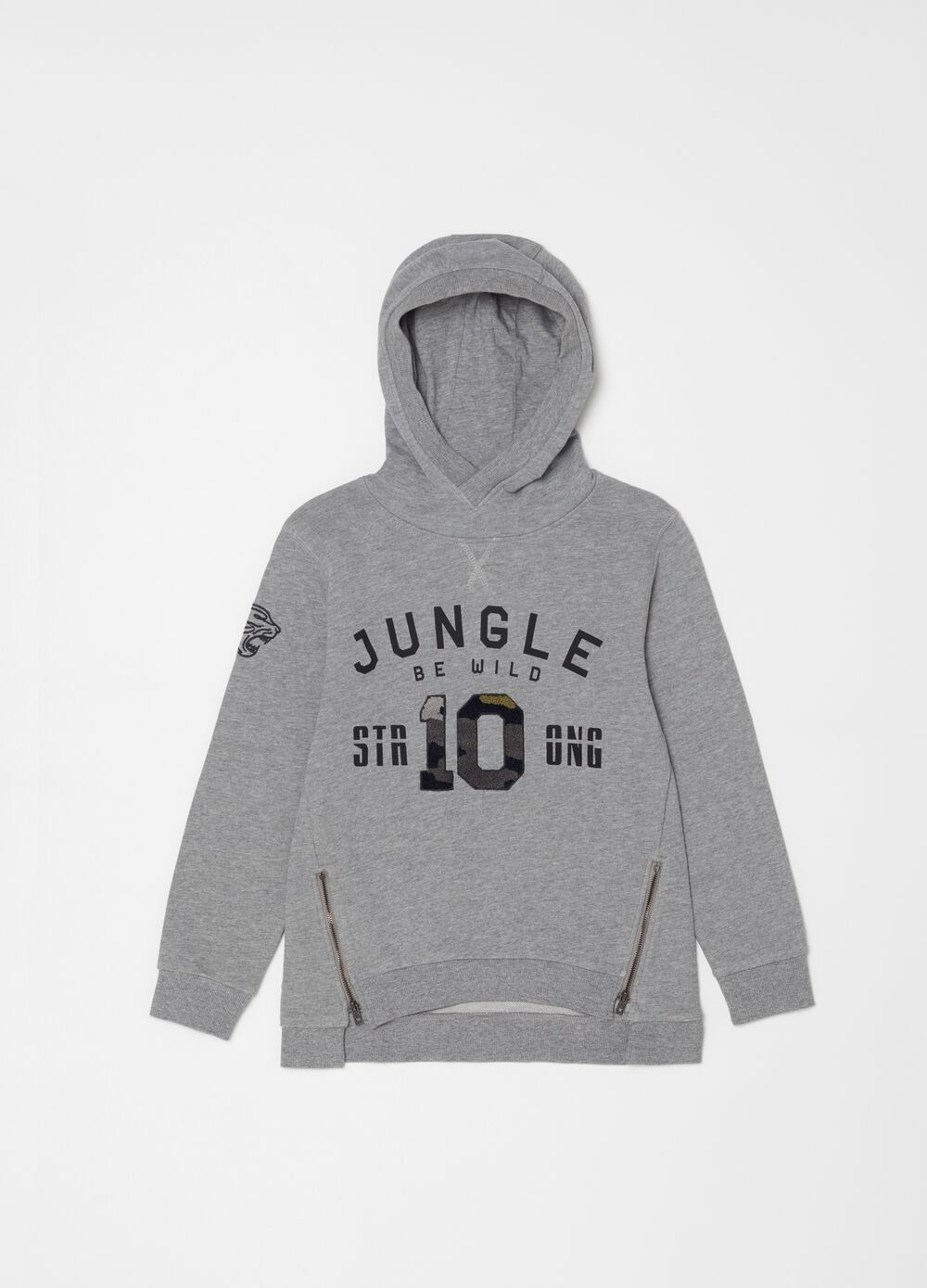 Over-fit sweatshirt with hood and metal zip