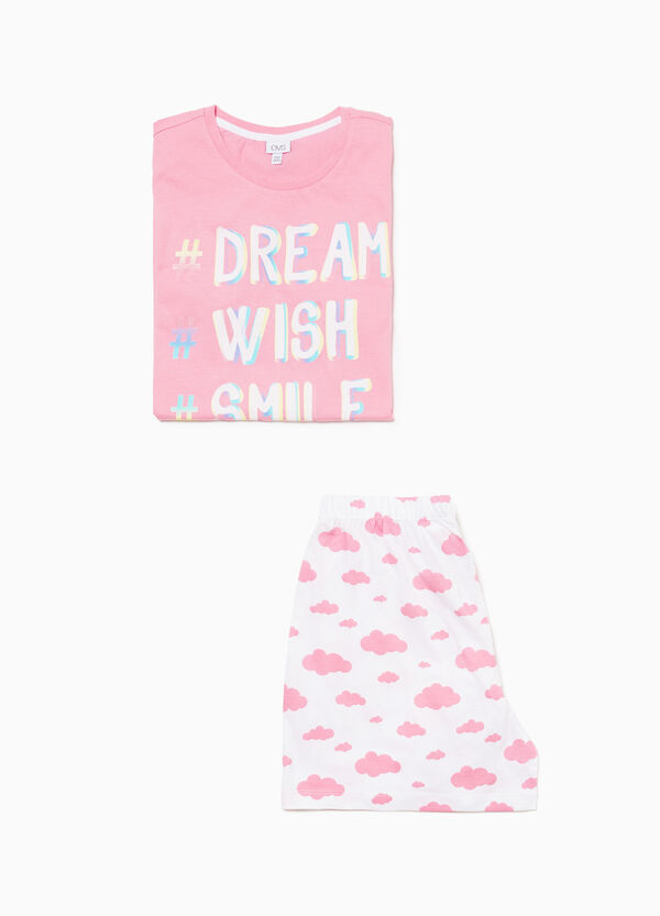 Cotton pyjamas with lettering and clouds