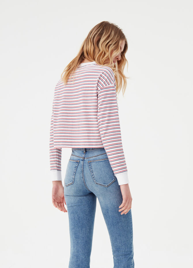 Striped T-shirt with long sleeves in BCI cotton
