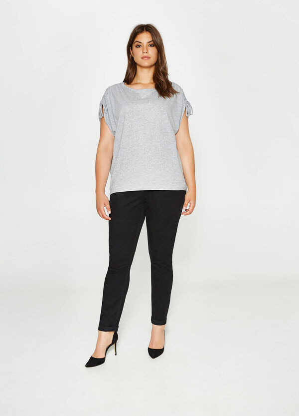 Curvy T-shirt with laces on the shoulders   OVS