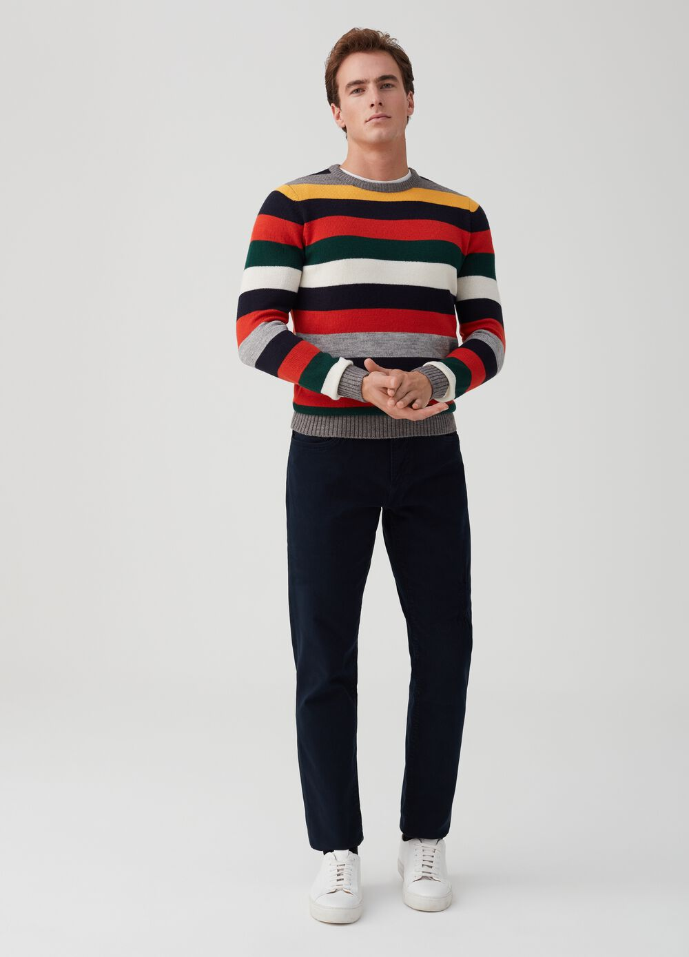 Wool pullover with striped pattern