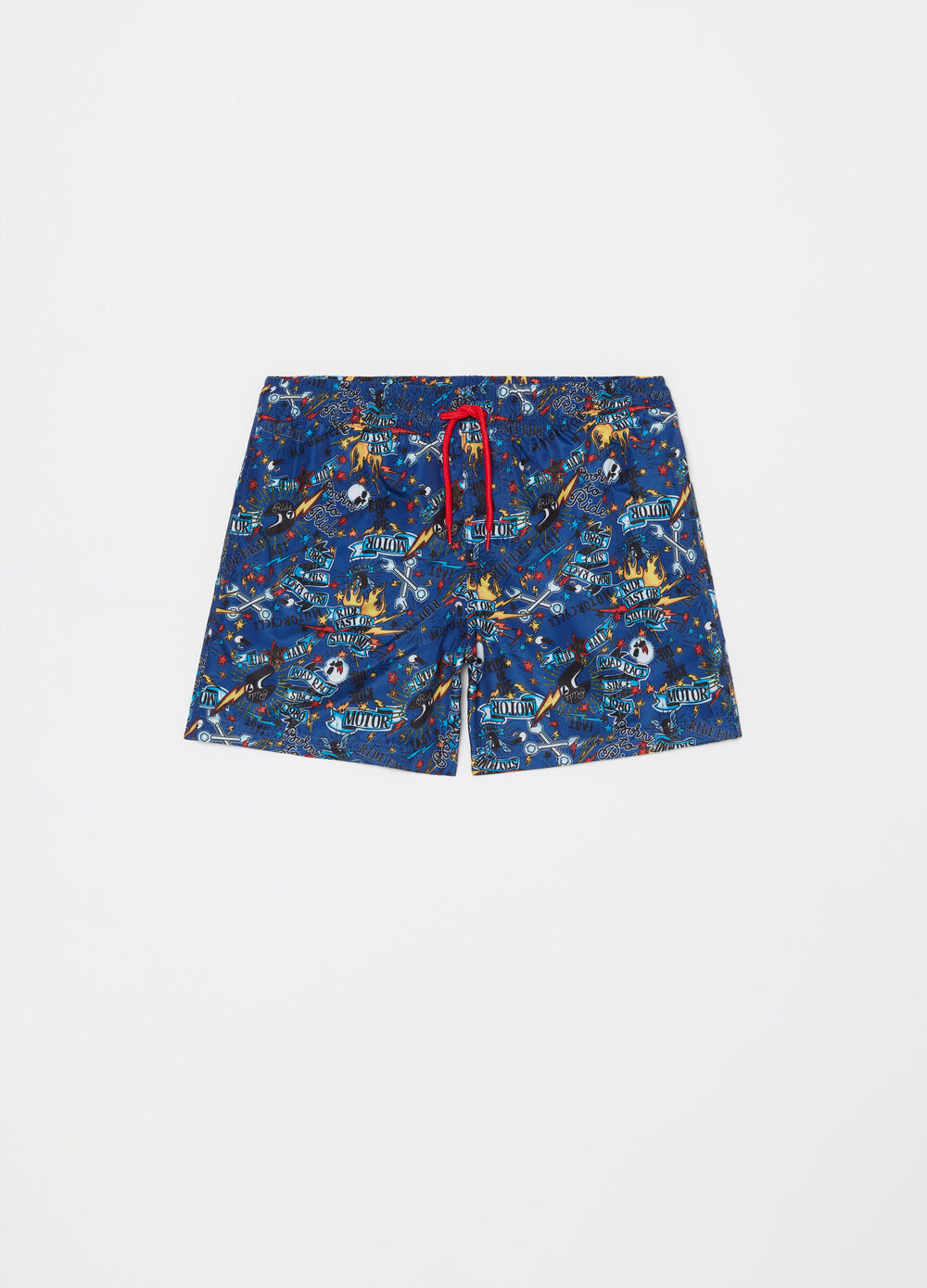 Swim boxer shorts with pocket, pattern and drawstring