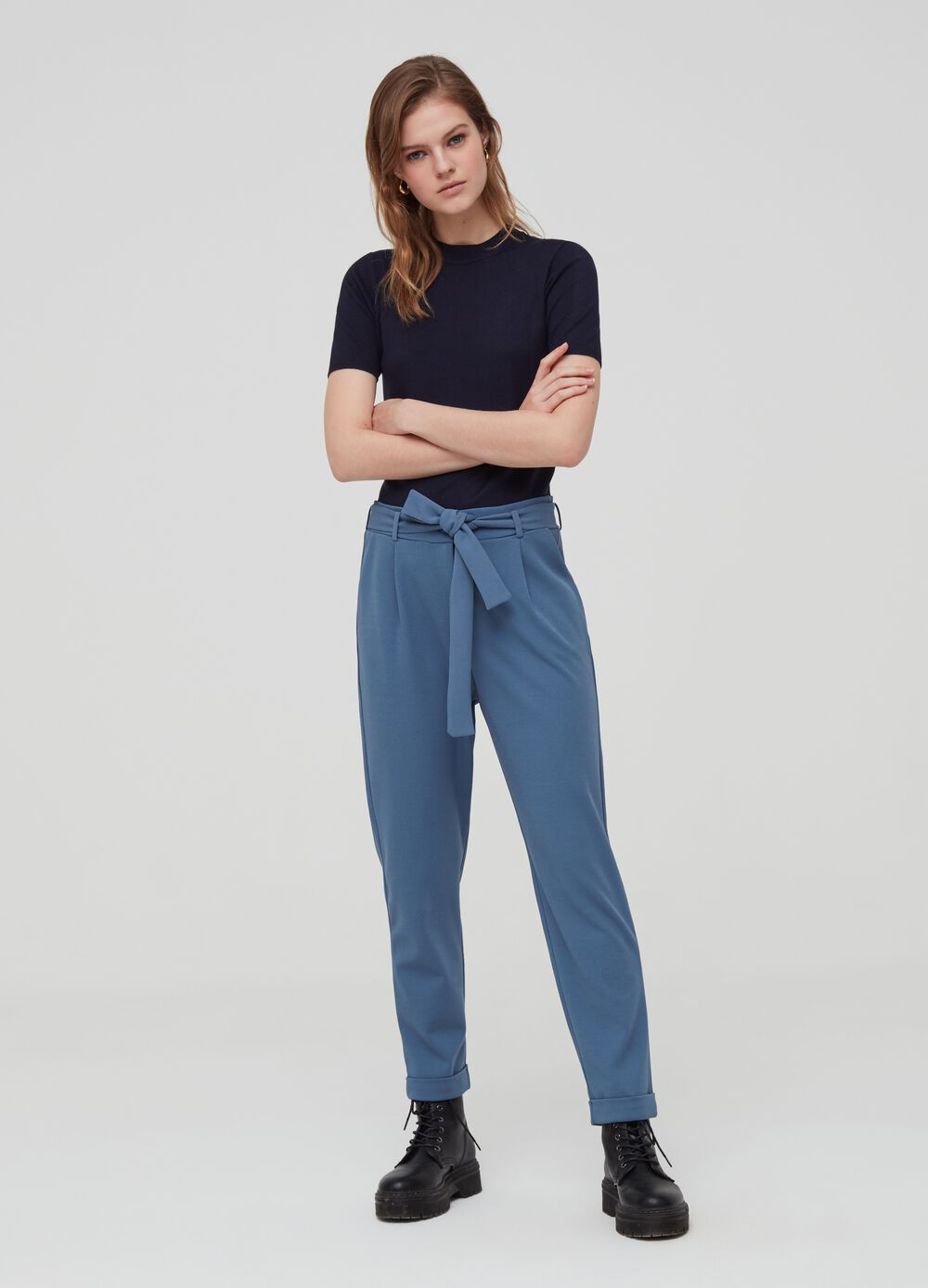 Crepe trousers with high waist