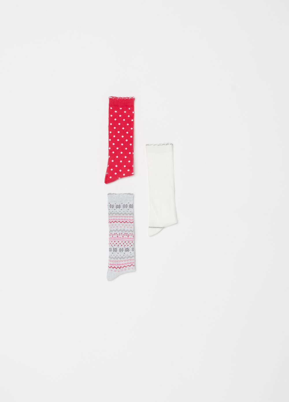 Three-pair pack long stretch patterned socks
