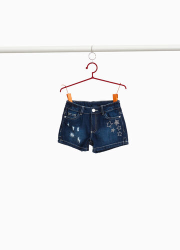 Shorts di jeans used con strass