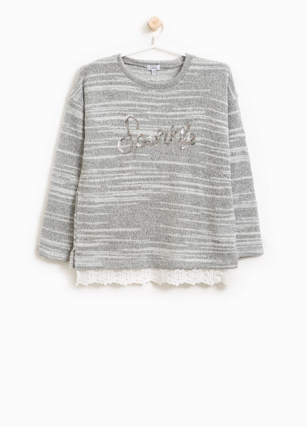 Mélange pullover with sequins and tulle
