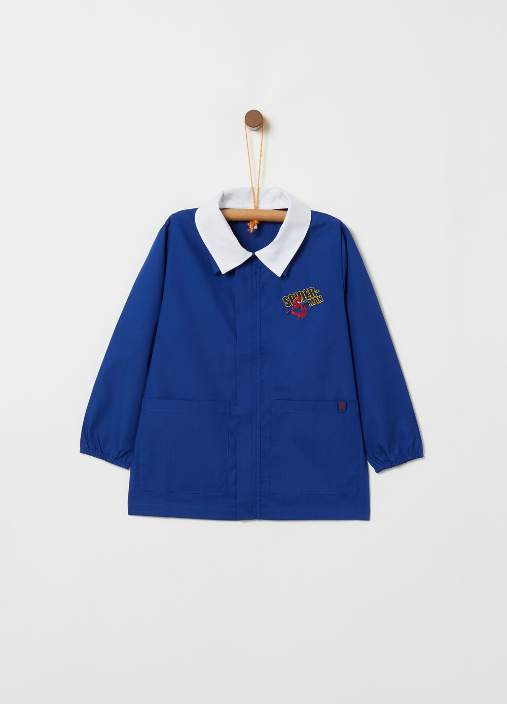 School smock with classic collar and Spider-Man patch