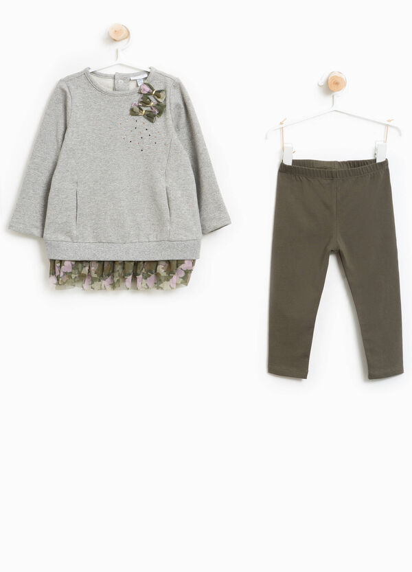 Sweatshirt and trousers outfit with tulle | OVS