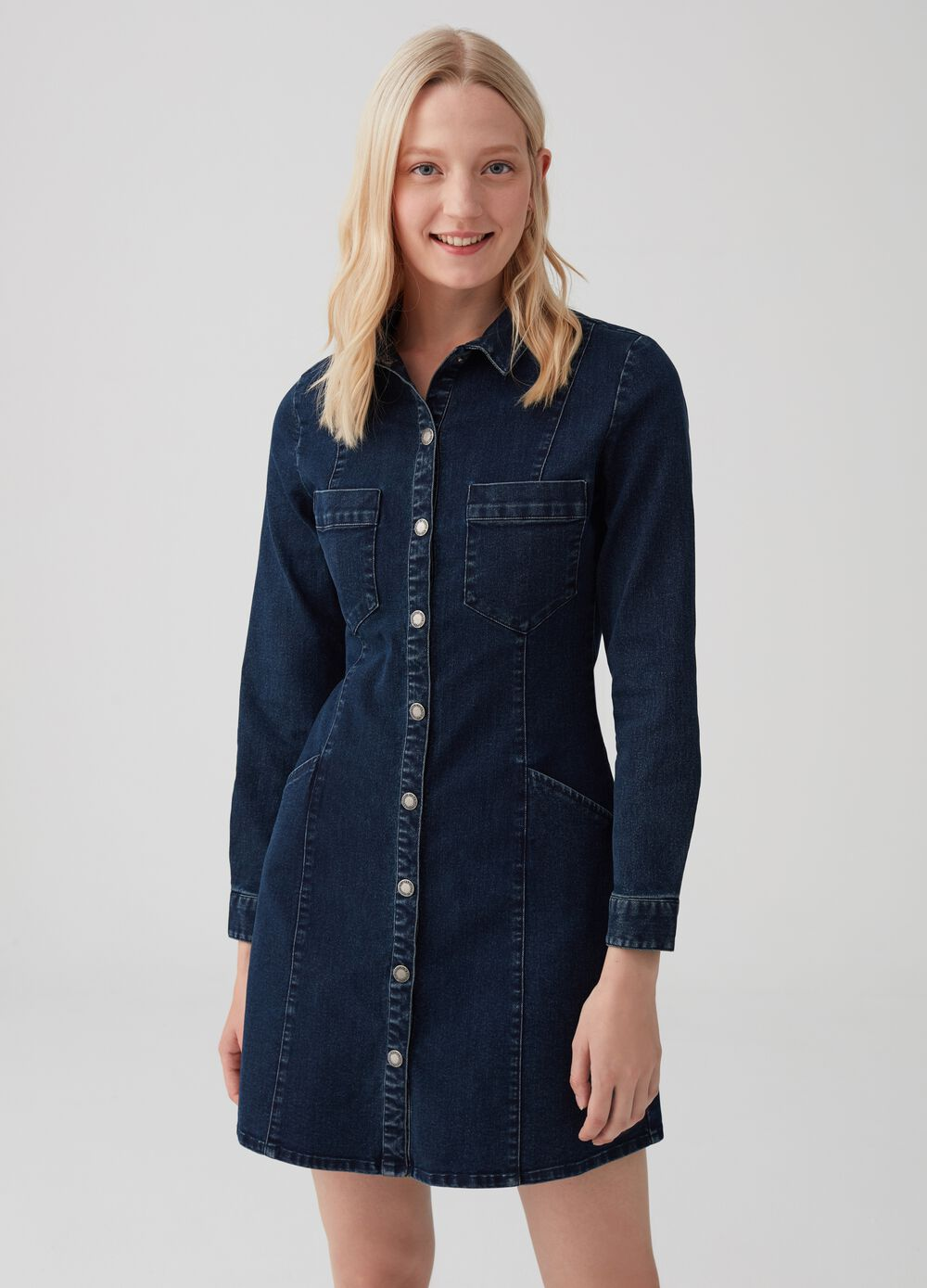 Short stretch denim-effect dress