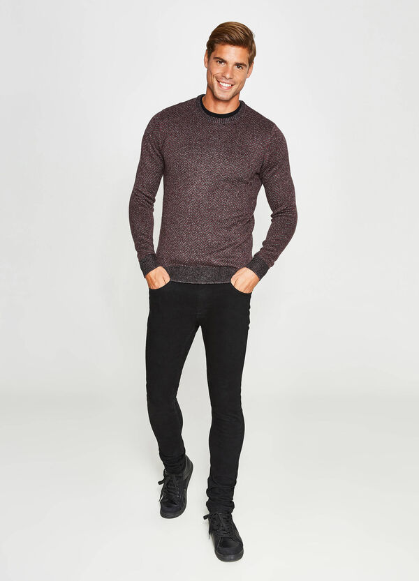 Two-tone knitted pullover in cotton and viscose