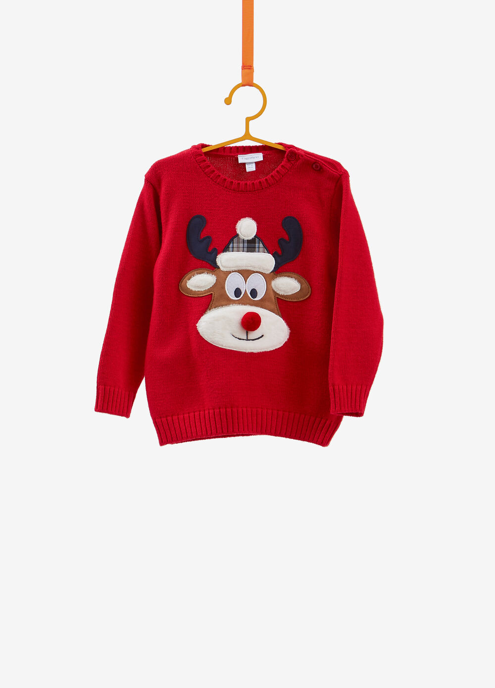 Christmas sweater with pompom and reindeer patch