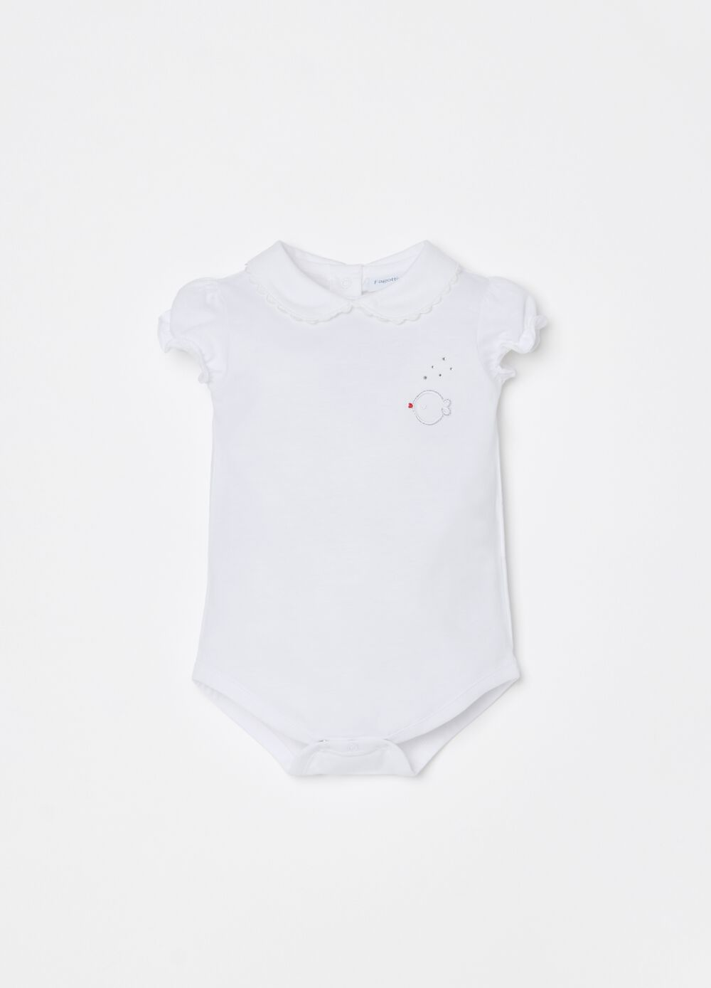 100% organic cotton bodysuit with fish embroidery
