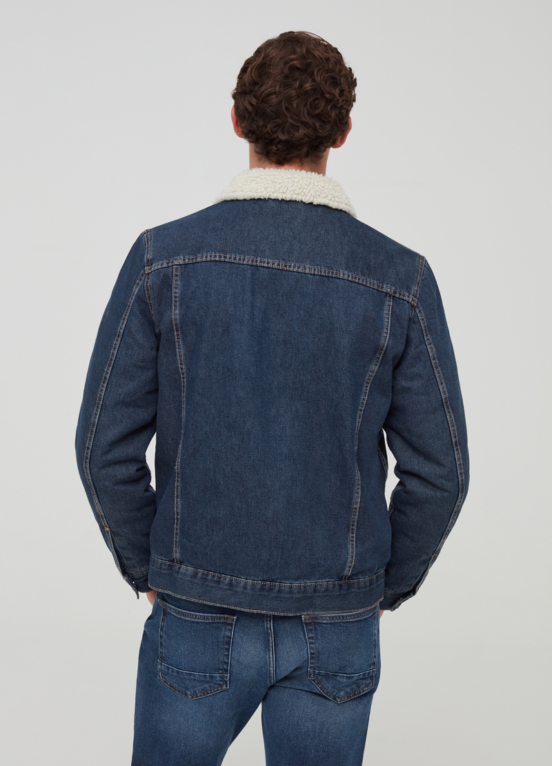Denim jacket with contrasting collar image number null