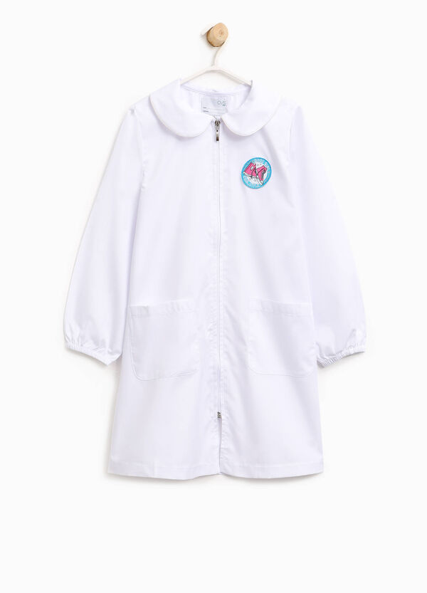 Cotton blend smock with patch and zip | OVS