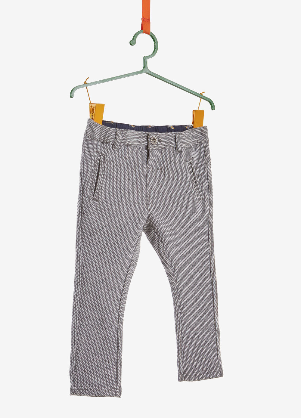 Trousers with micro check pattern