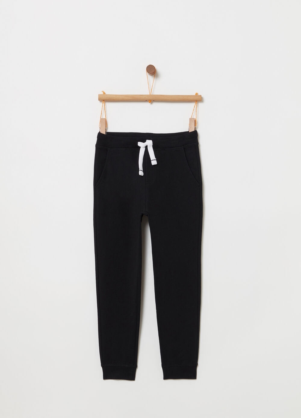 Regular-fit trousers with contrasting drawstring