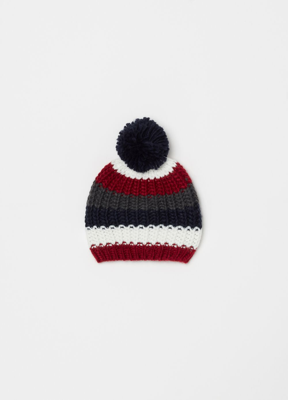 Knitted hat with striped pompom