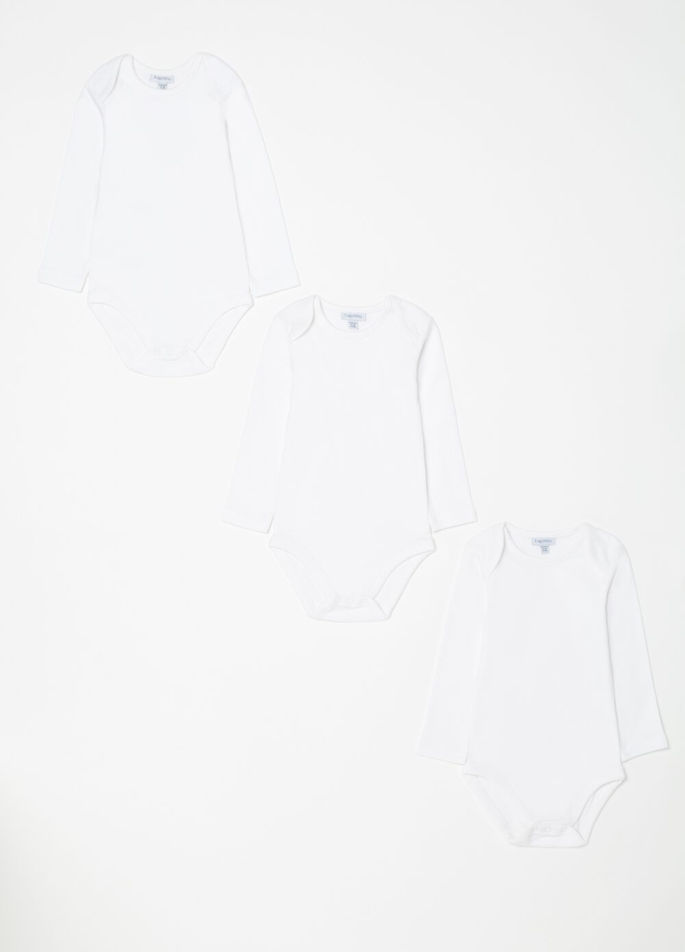 Three-pack long-sleeved bodysuits in organic cotton