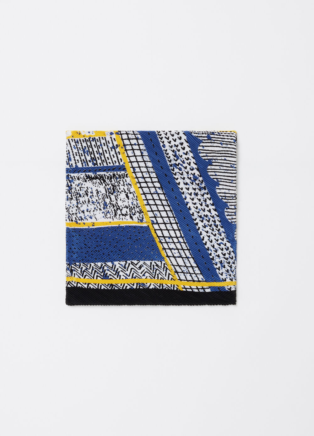 Abstract pattern pleated satin foulard