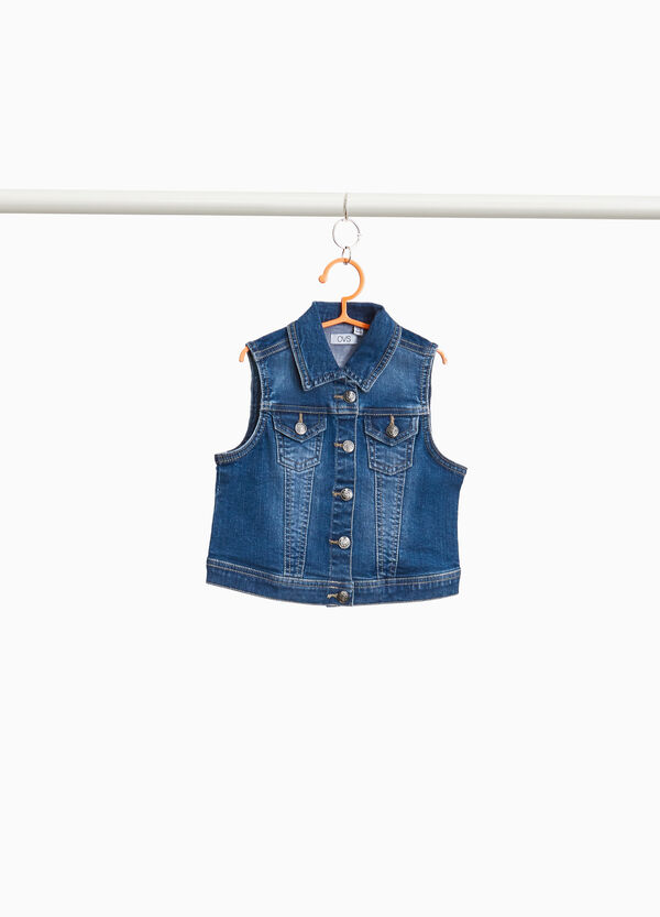 Washed stretch denim gilet