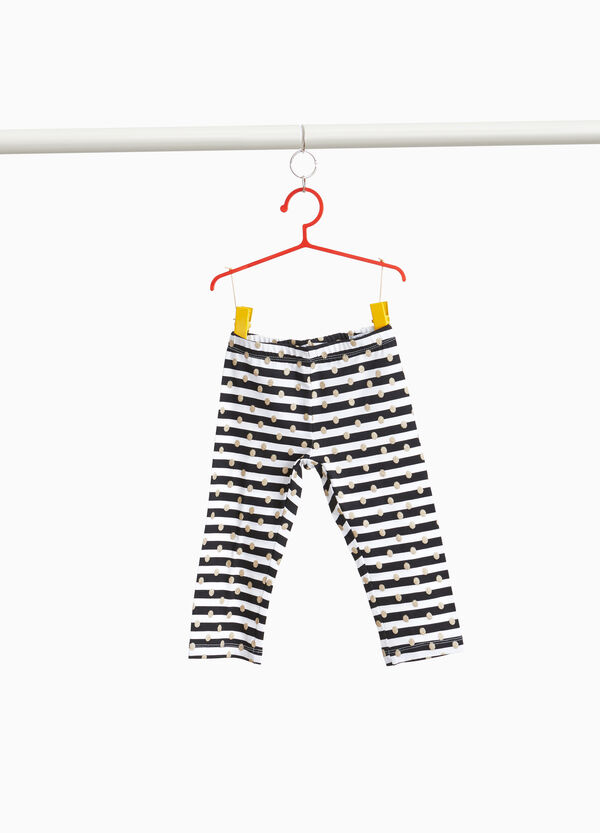 Leggings in stretch cotton with stripes polka dots
