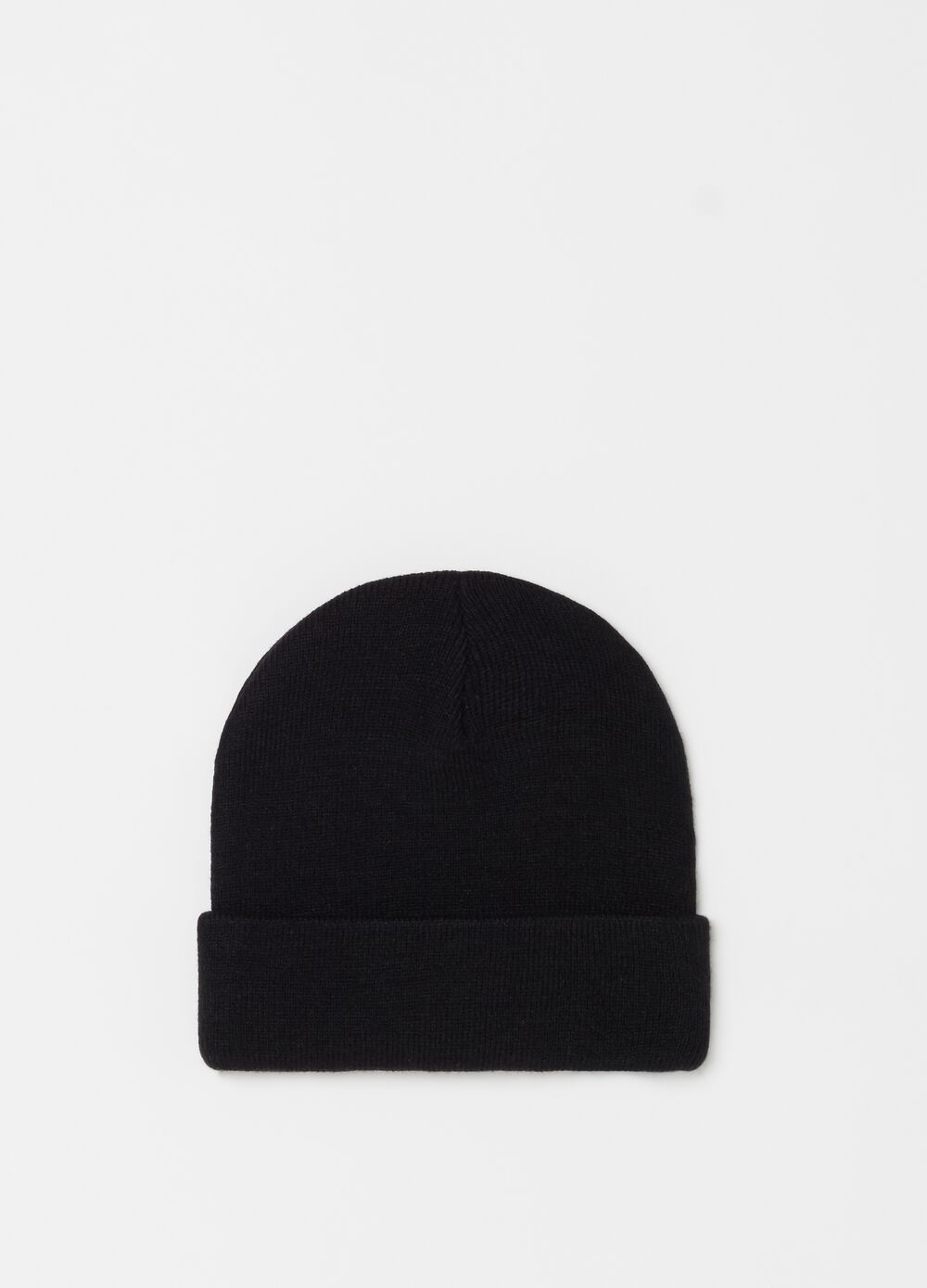 Ribbed beanie with turn-up