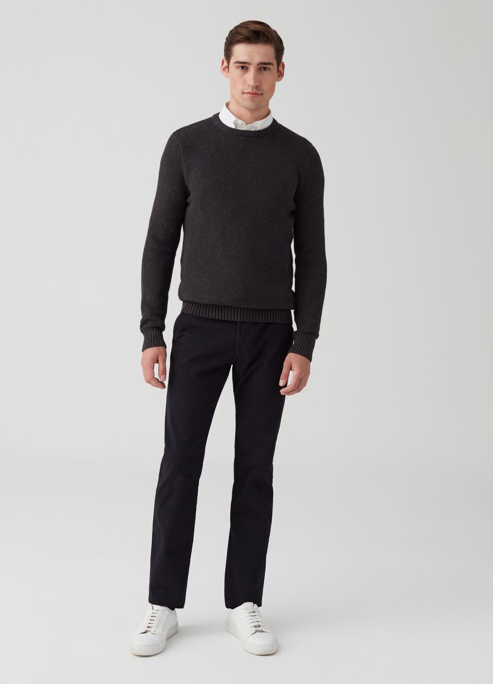Stretch cotton chino trousers with pockets