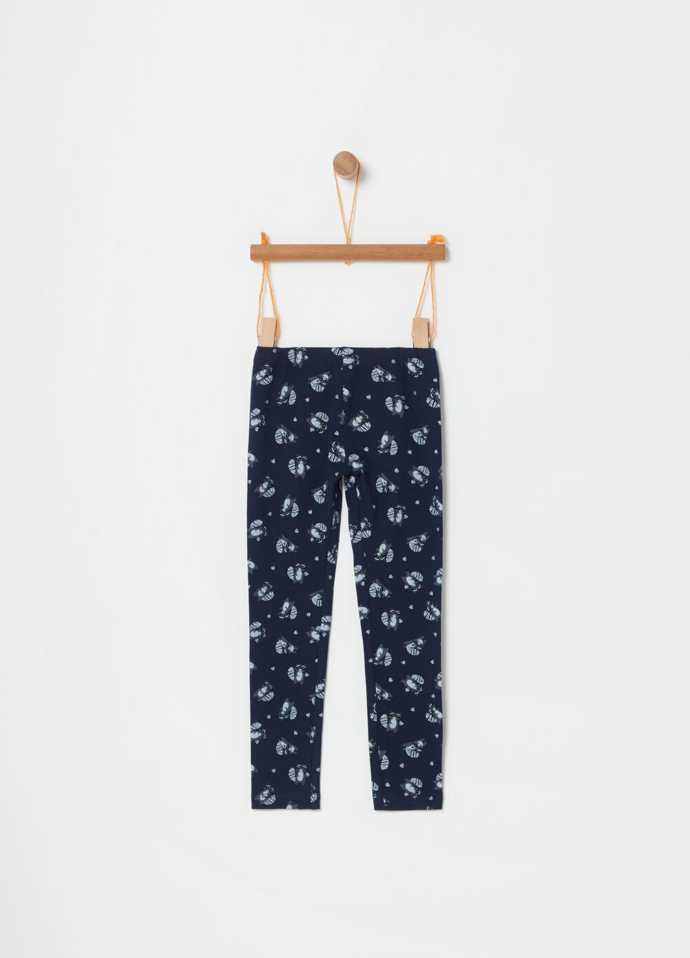 Stretch cotton leggings with glitter print