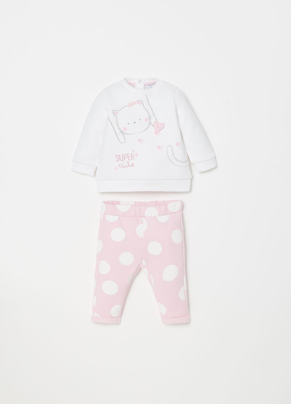 T-shirt and trousers set with polka dot print