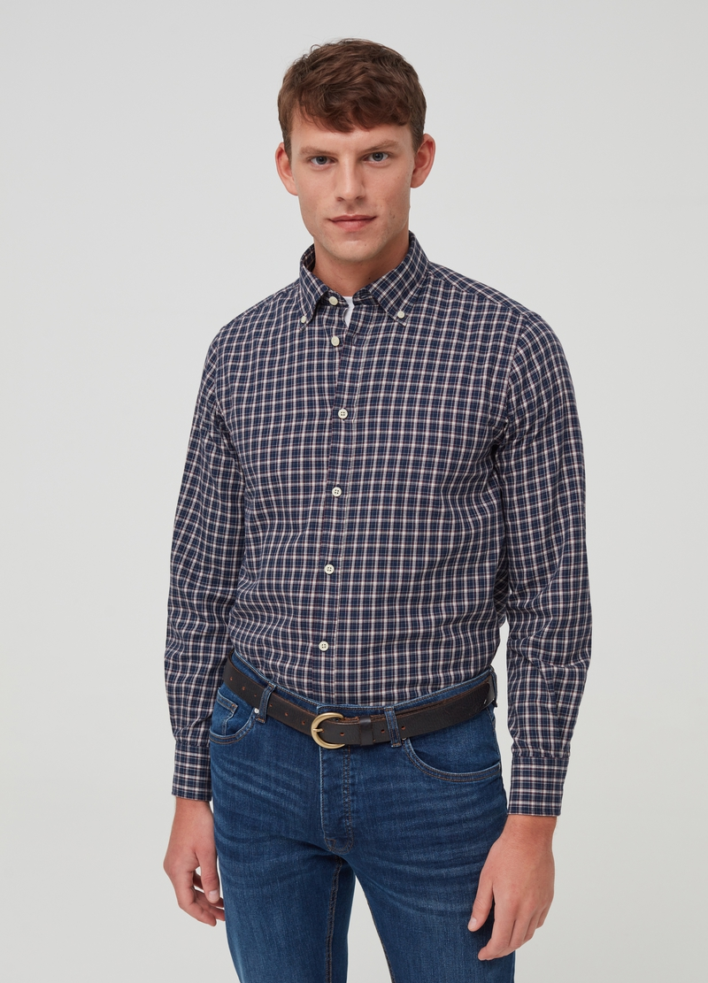 PIOMBO cotton shirt with micro check pattern image number null