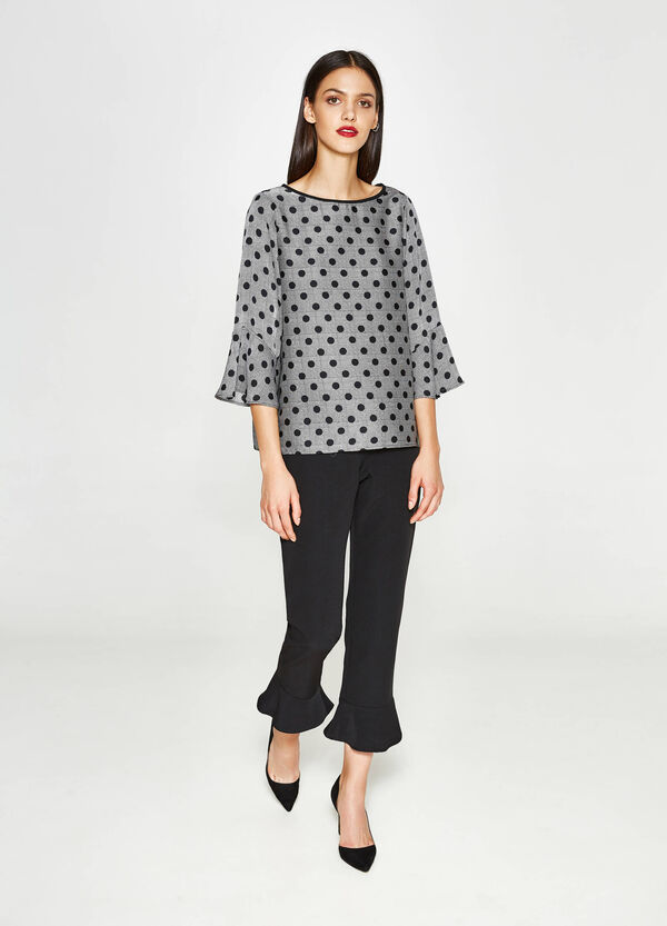 Tartan pattern and polka dot blouse with flounces | OVS