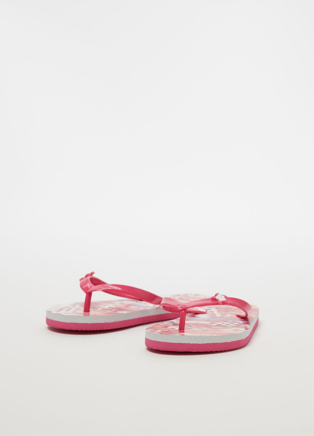 Thong sandals with flower and ethnic pattern