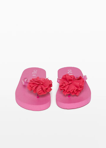 Rubber flip flops with flounce and glitter