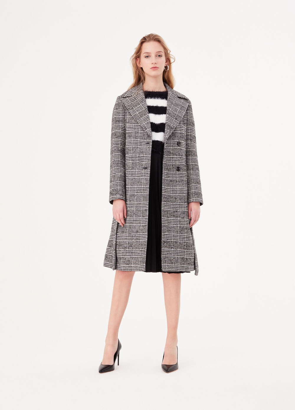 Prince of Wales viscose blend coat