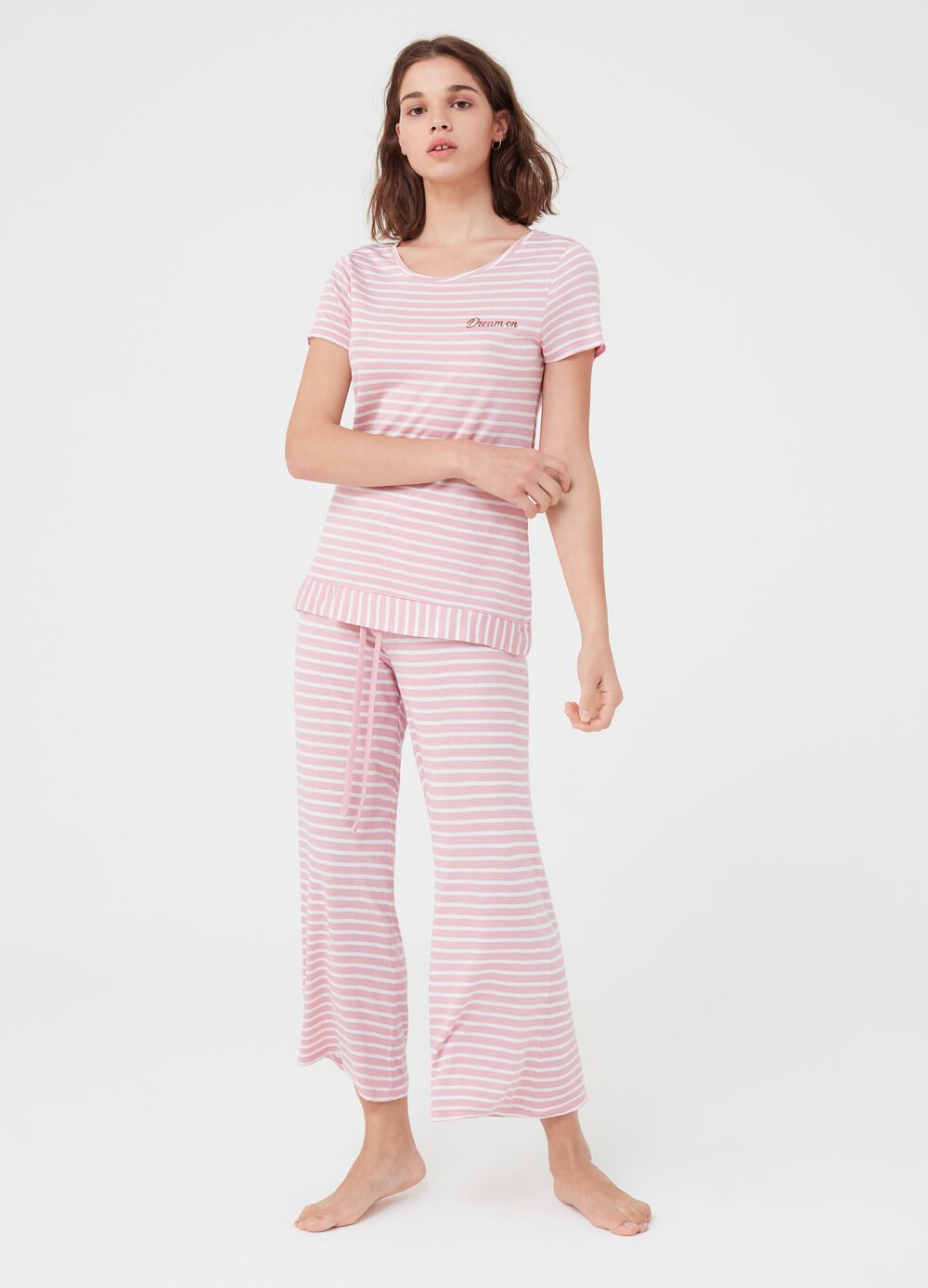 Yarn-dyed striped pyjamas with print