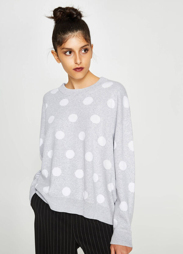 Polka dot cotton-viscose pullover