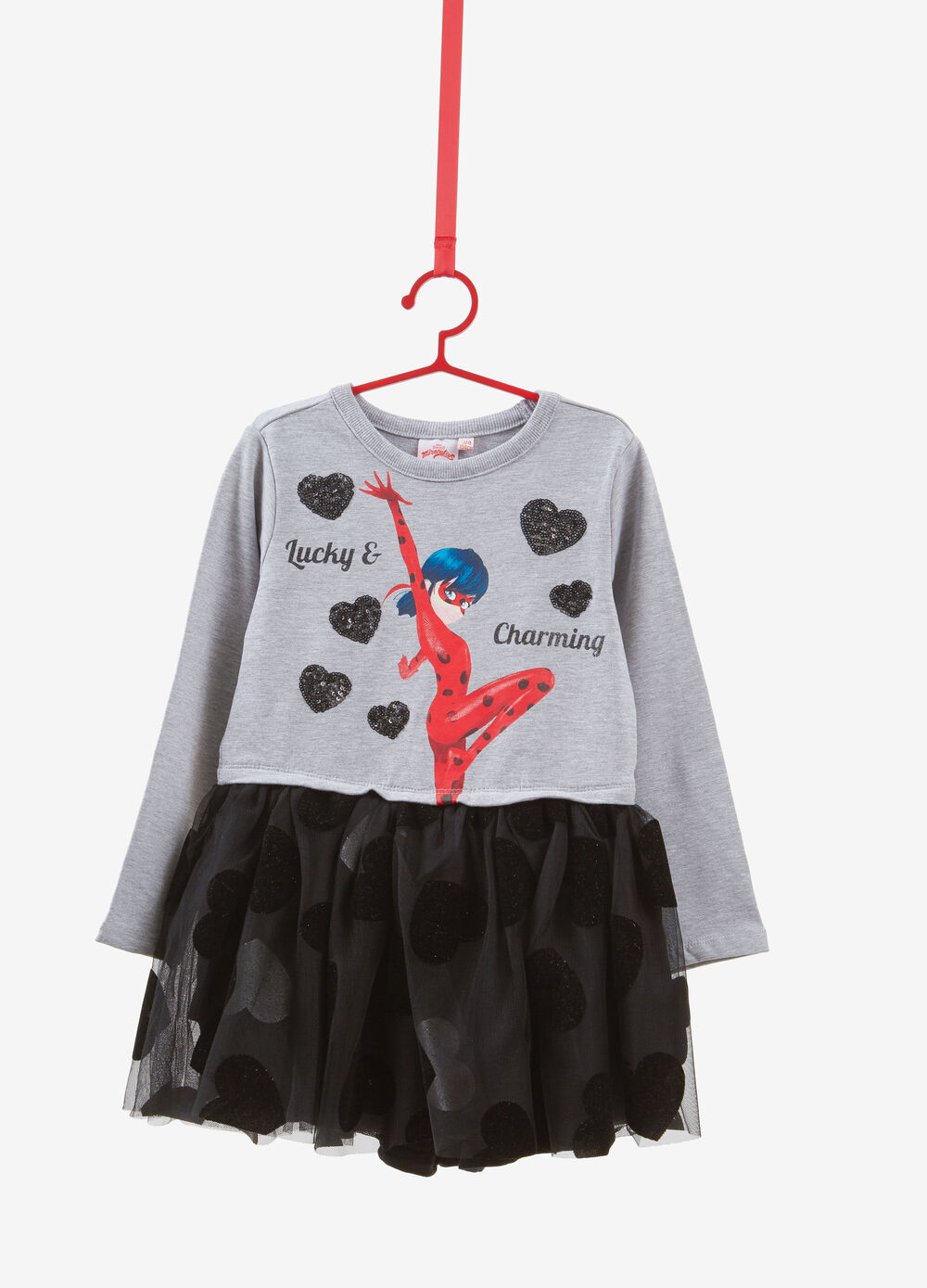 Stretch cotton Miraculous dress with glitter hearts