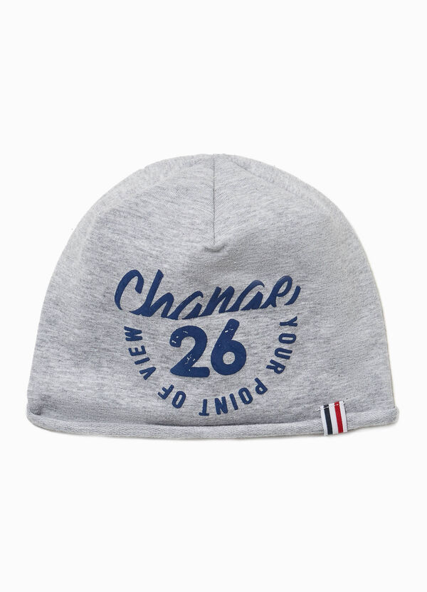 Beanie cap with lettering and patches