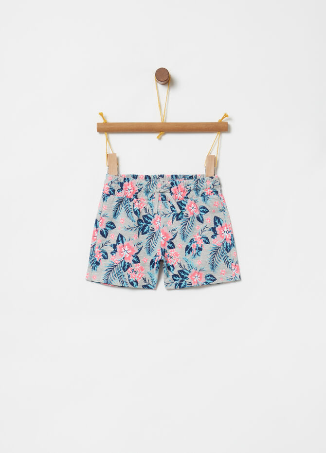 Cotton shorts with floral drawstring