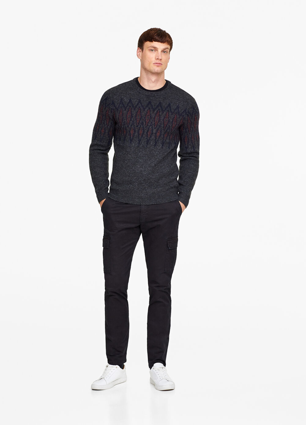 Stretch wool blend embroidered pullover
