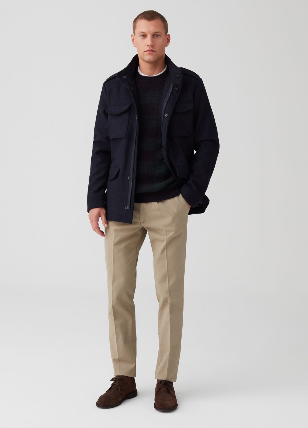 Wool blend jacket with high neck and pockets