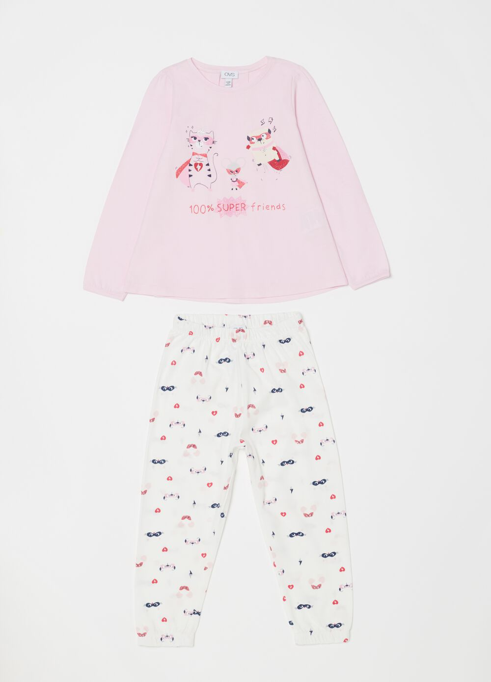 Pyjamas top and trousers with pattern and print