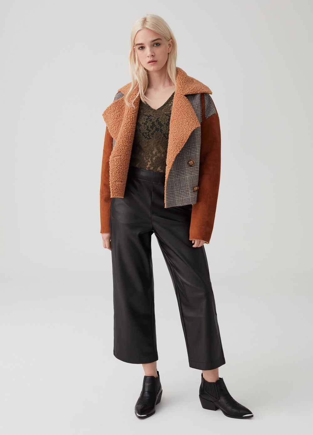 Leather-look culotte trousers