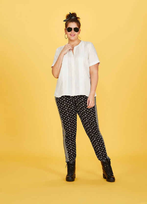Curvy printed 100% viscose trousers