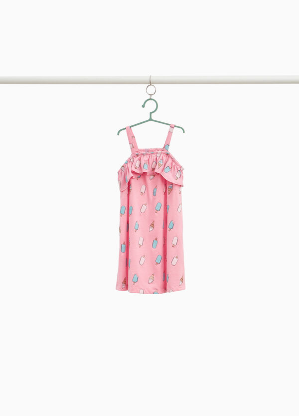 Cotton dress with ice cream print and flounce