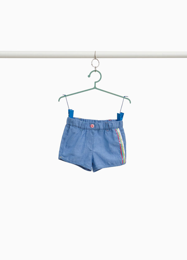 Denim shorts with sequinned band