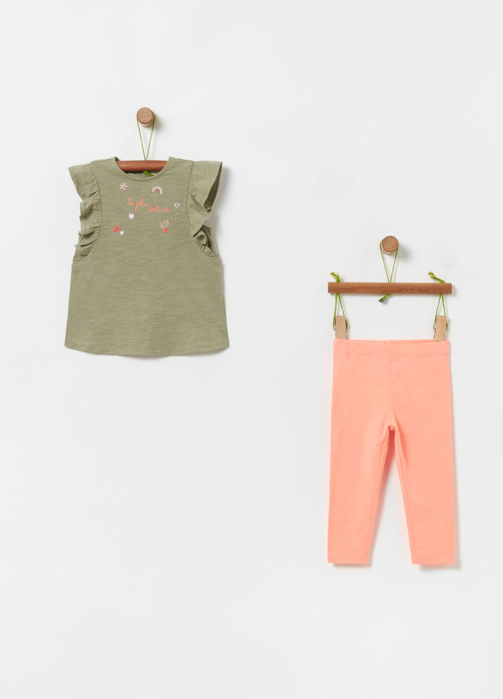 T-shirt and leggings jogging set with embroidery