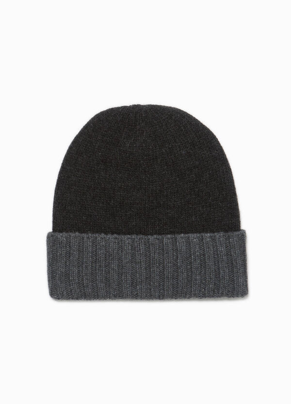 Wool beanie cap with turn-up