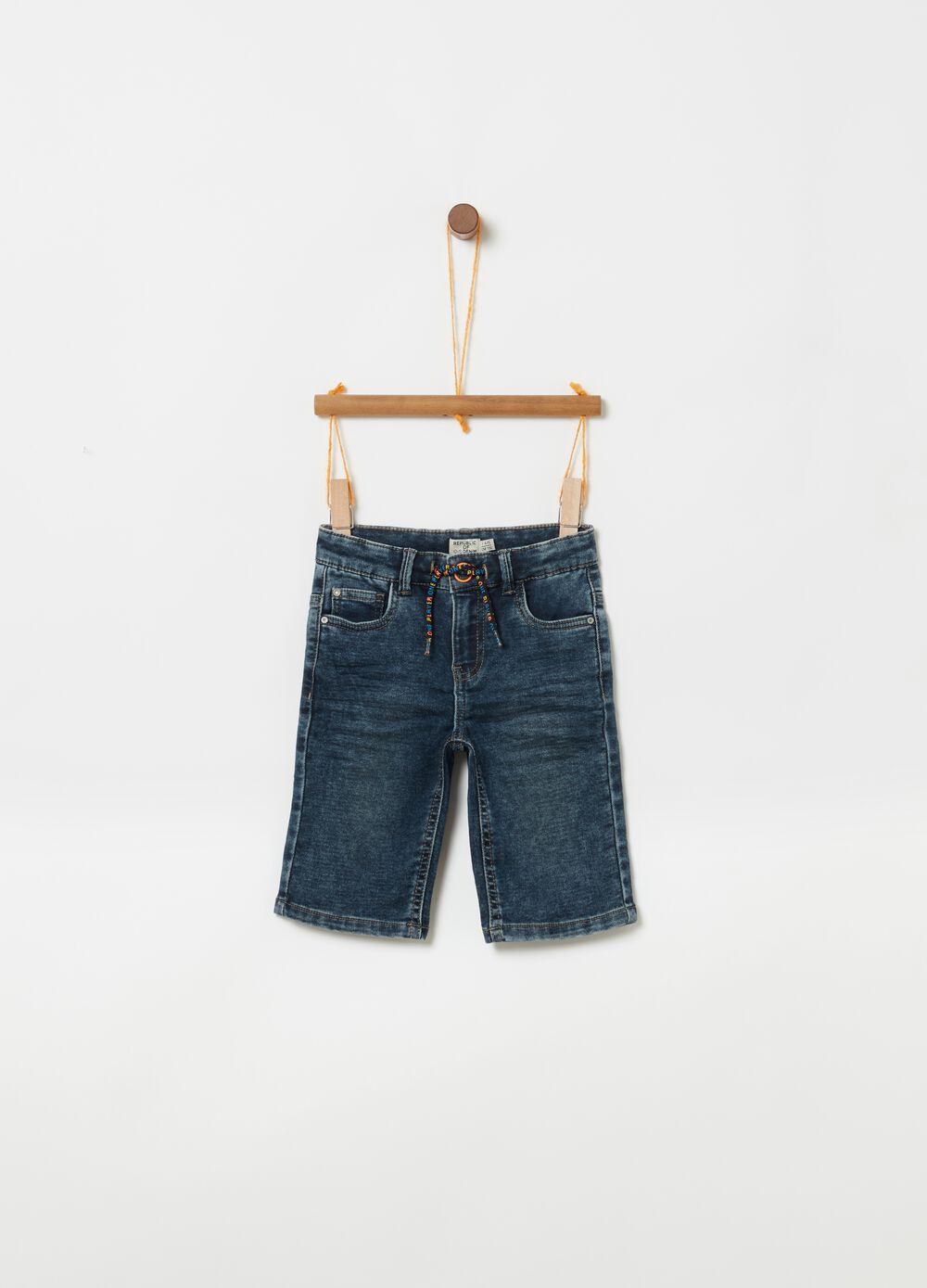 Stretch denim shorts with drawstring