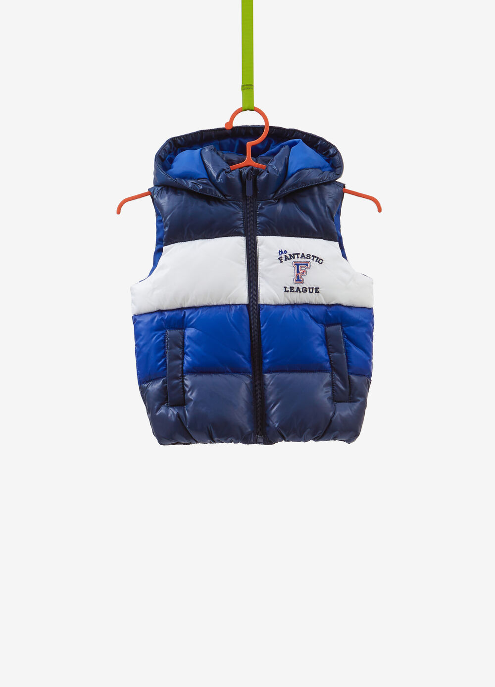 Padded striped gilet with embroidery and patch